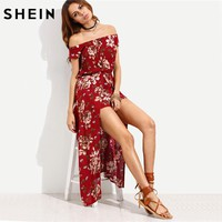 Summer Beach Women Rompers And Jumpsuits Burgundy Flower Print Short Sleeve Off The Shoulder High Low Romper