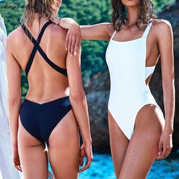 Woman Swim bathing suit push up new originality Black and White one piece Swimsuit sexy Backless Halter Top Swimwear