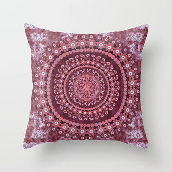 Boho Rosewood Mandala Throw Pillow by ninamay