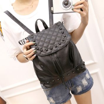 Black Soft Leather Backpack