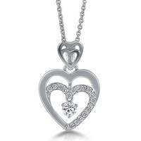 Sterling Silver Necklace Cubic Zirconia CZ Double Heart Pendant #n815