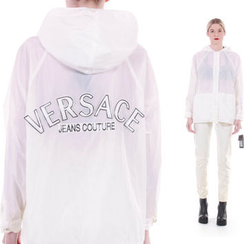 90's Vintage NWT Versace Jeans Couture Authentic White Windbreaker Jacket Logo Cyber Goth Futuristic Minimalist Clothing Size Medium