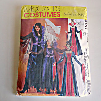 McCalls 4151  Evil Queen Witch Vampire Elvira Dress Up Costumes Size Adult Woman and Girls Sewing Pattern