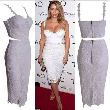 white pencil two piece set floral lace dress crop top with skirt