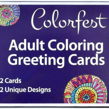 Adult Coloring Greeting Cards by Colorfest Boxed Set of 12 Unique Artist Designs with Envelopes