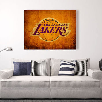 Los Angeles Lakers vintage style Canvas Print, Wall Art, vintage, vintage basketball, Grunge, basketball wall decor