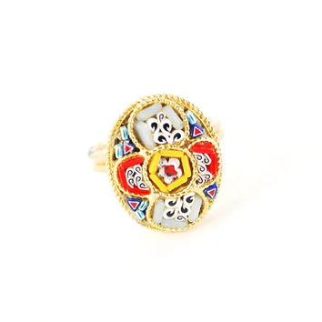 Vintage ITALIAN Micro-Mosaic Ring (Colorful Multi-Colored, Glass Tiles, Flowers Floral, Gold Oval, 1960s Mad Men Retro Costume Jewelry)