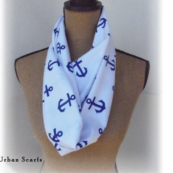 Anchor Infinity Scarf nautical anchor scarf blue by UrbanScarfs