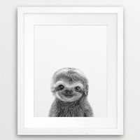 Cute Baby Animal Sloth Wall Art Canvas Prints , Sloth Art Canvas Painting Poster For Kids Room Nursery Wall Art Decor