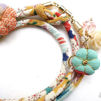 Kimono Bracelet, Necklace, Japanese chirimen fabric cord - HANA MORI - White Sakura, Blue and Red on Smokey yellow