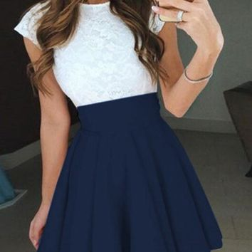 Dark Blue Patchwork Lace Ruffle Short Sleeve Cute Mini Dress