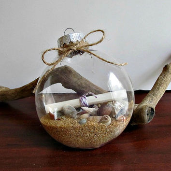 Message In A Bottle Ornament - Flat Oval - Wedding Christmas Holiday Gift Home Decor
