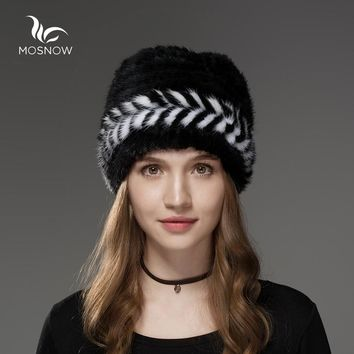 Mosnow 2017 New Natural Mink Fur Hat Winter Arrow Pattern Women Vogue Knitted Casual Brand Warm  Hat Female Skullies Beanies