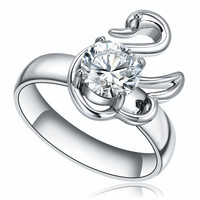 Stainless Steel Swan W. Round Cubic Zircona Ring