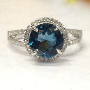 8mm London Blue Topaz Engagement Ring 14K White Gold!Diamond Wedding Bridal Ring,Round Cut VS Natural Gemstone,Claw Prongs,Custom made Band
