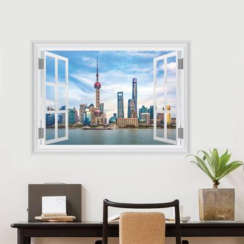 Chinese Shanghai Scenery Wall Stickers Oriental Pearl TV Tower Wall Decals 3d Window Poster Mural Bedroom Living Room Decor