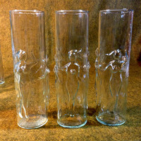 Dancing Nudes Cocktail Glasses - Set of 8 - Perfect Condition - Raised Relief Naked Women Form 4 per glass.