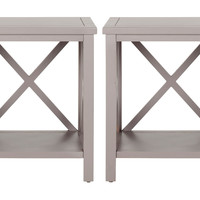 Taupe Lucas Cross-Back Side Tables, Set of 2, Standard Side Tables