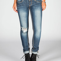 Almost Famous Destructed Womens Skinny Jeans Dark Blast  In Sizes