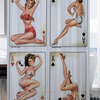 Rare 4 sexy Retro aces pin up girls shower curtain