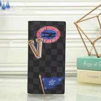 """Louis Vutitton"" Men Purse Personality Multicolor Tartan Pattern Long Section Multi-card Bit Fold Wallet"