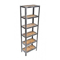 well-built repurposed american vintage industrial freestanding shelving unit or rack complete with recycled barn wood shelves - Furniture - Shop