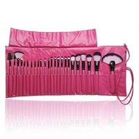 Professional Makeup Brushes 24 pcs Quality Natural Cosmetic Brush Set with Leather Pouch, 24 Count Makeup Bursh set with PU Bag For Eye Shadow, Blush, Concealer (Red)