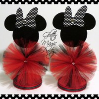 Minnie Mouse Centerpiece - Minnie Mouse Inspired Party - Minnie Mouse Party Decoration - Black / White Dots Minnie Mouse - SET OF 2