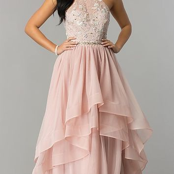 Mauve Pink Tulle Long Prom Dress with Tiered Skirt