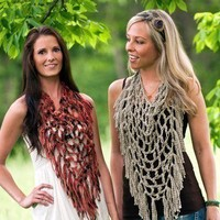 Fishnet Fringe Scarf Crochet Pattern PDF by JackieMoon on Etsy