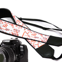 Math  camera strap. Black red and white Camera strap. DSLR Camera Strap. Camera accessories. Geometric. Formula