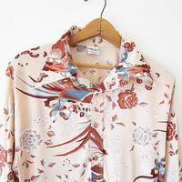 Wms 70's Nude PHEASANT Floral Outdoor DISCO Collar Floral Lord Clayton Button Down Blouse Shirt