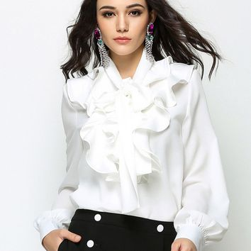 White Bow Tie Front Ruffle Detail Long Sleeve Shirt