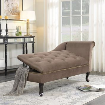 Belleze Velveteen Tufted Open Fold Spa Chaise Lounge Chiar Couch for Living Room Gold Nailhead Trim with Storage, Brown - Walmart.com