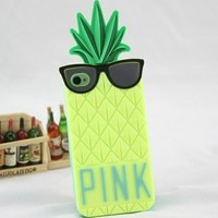 Big Mango Superior Quality 3D Cute Pineapple with Black Glasses Design Soft Silicone Gel Protective Case Cover for Apple iPhone 4 4s 4g Yellow