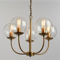 Antique Brass and Glass Globe 5 Light Alessa Chandelier