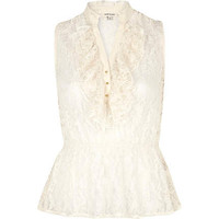 Cream sheer lace sleeveless frilly top - blouses - blouses / shirts - women