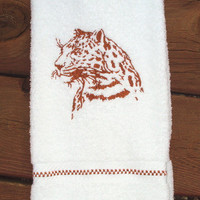 Jaguar Silhouette Embroidered bathroom hand towel.