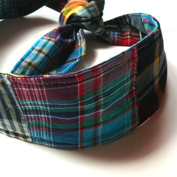 Madras Plaid Headband - Preppy Headband - Madras Headband - Plaid Hair Tie - Madras Hair Tie
