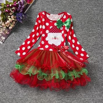 2-6 Year Red Cotton Dot Print  Christmas Party Princess  Dress Kids & Girl Xmas Children's Clothing For Fall and Winter.