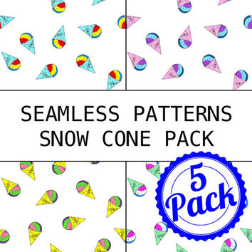Seamless Patterns JPG Files - Snow Cone Pack - Digital Scrapbook Paper Pack