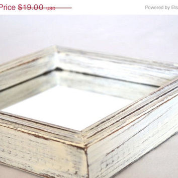 ON SALE Shabby Chic Distressed White Square Mirror