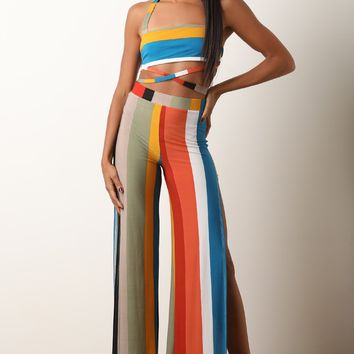Striped Strappy Bandeau Top with Side Slit Palazzo Pants Set