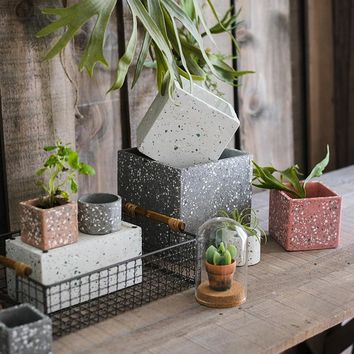 Rustic Gray Red White Cement Planter in Various Shape Sizes