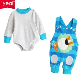 Autumn cotton girls long sleeve bodysuit Overalls 2pcs clothes sets Infant toddler girls Outfit