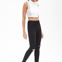 FOREVER 21 High-Waisted - Distressed Skinny Jeans
