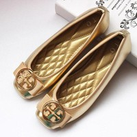 Tory Burch Popular Women Casual Slip-On Leather Flats Shoes Golden I11937-1