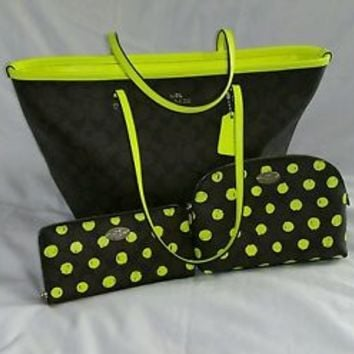 EUC authentic coach neon sig. taxi tote