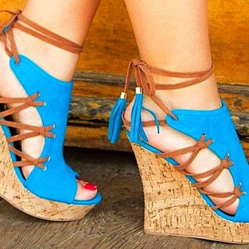 Beautiful Summer Sexy Cut Out Ankle Lace Up wedge Sandals * New Item *