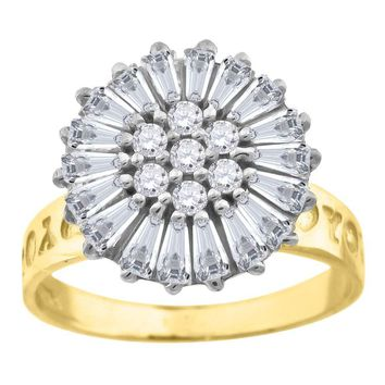 Round & Baguette Cut CZ Floral Design Fashion Ring in 10k Yellow Gold
